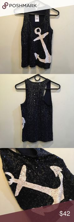 NWT J. Crew Anchor Nautical Sequin Tank Top New with tags- J. Crew factory sequined top with an anchor in white sequins- very cute and eye catching! Super nautical- and size extra extra small! J. Crew Factory Tops