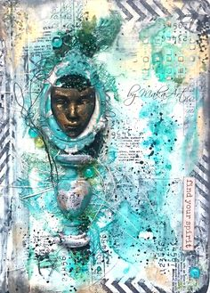 Welcome!   Today I am sharing an art journal cover called  Find your spirit ...   I hope you will enjoy a video tutorial and here is the re...