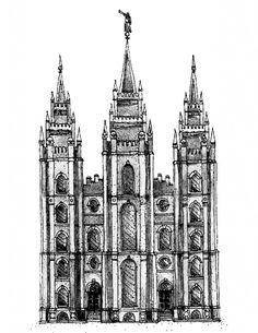 Salt Lake City Temple Sketch free printable.