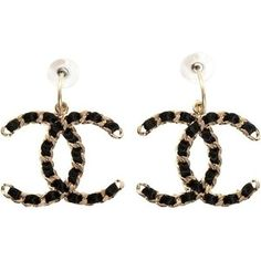 Pre-owned Chanel Earrings Satin Chain Link Xl Jumbo Maxi Black Gold Hardware Cla