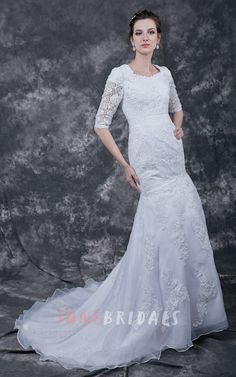 Elegant 3 4 Sleeve A-line Lace-appliqued Gown With Scooped Neckline
