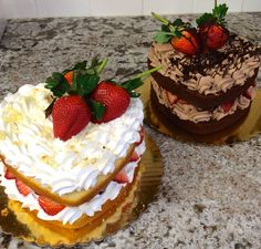 Strawberry Shortcake or Chocolate Mousse?! Tough choices! #carlosbakery
