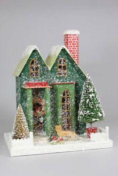 Woodland Cottage Mica Putz House @ TheHolidayBarn.com