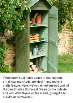 Brilliant: Grows on You Idea for a small garden shed.Waccy and Brilliant: Grows on You Idea for a small garden shed.and Brilliant: Grows on You Idea for a small garden shed.Waccy and Brilliant: Grows on You Idea for a small garden shed. Back Gardens, Small Gardens, Outdoor Gardens, Shed Design, Garden Design, Petits Hangars, Small Sheds, Big Sheds, Tool Sheds