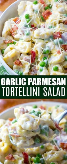 Creamy and flavorful this Garlic Parmesan Tortellini Salad is the perfect Summer pasta dish that you will want at your dinner table night after night. Full of tortellini, bacon, peas and a garlic parmesan sauce this salad is a surefire hit. Tortellini Pasta, Tortellini Recipes, Pasta Salad Recipes, Cheese Tortellini Salad, Summer Pasta Dishes, Summer Salads, Parmesan Sauce, Garlic Parmesan, Salat Wraps