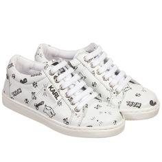 KARL LAGERFELD Kids Girls White Leather 'Choupette' Print Trainers at Childrensalon.com