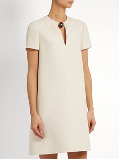 Click here to buy Valentino Panther-embellished wool-blend crepe dress at MATCHESFASHION.COM
