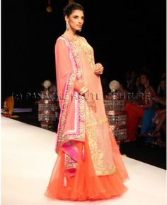 Peach color long jacket lehenga visit http://panachehautecouture.co.in/ for more collection