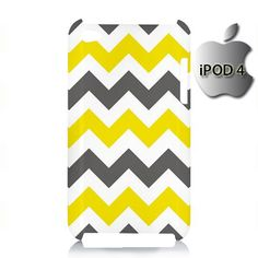 Chevron Grey Yellow iPod 4 4g 4th Touch Case Cover