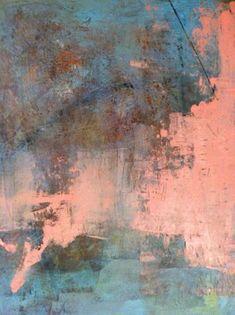 "Oil, cold wax, mixed media on panel 12"" x 12"" Lynda O'Connor Lyons."