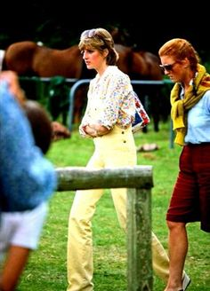 July 12, 1981 Lady Diana Spencer with Sarah Ferguson attend a polo match at Windsor Great Park in Windsor, England