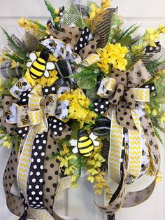 24 inch Whimical Bumble Bee Mesh Spring and Summer Wreath by WilliamsFloral on Etsy https://www.etsy.com/listing/286876515/24-inch-whimical-bumble-bee-mesh-spring