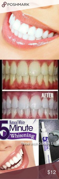 Natural White 5-Minute Teeth Whitening Kit! Be on your way to a brighter smile in just 5 minutes! Simply apply the whitening gel to the patented soft and flexible duplex mouth tray and insert over teeth ? allows you to whiten upper and lower teeth at the same time. Plus, it?s clinically proven safe and effective. Accessories
