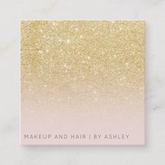 Modern chic gold glitter ombre makeup professional square business card #custom professional #businesscards customize and print on demand