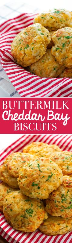 Buttermilk Cheddar Bay Biscuits - the most delicious Red Lobster style biscuits… Biscuit Bread, Biscuit Recipe, Cheddar Bay Biscuits, Buttermilk Biscuits, Blueberry Biscuits, Tea Biscuits, Cheese Biscuits, Cheese Bread, Buttermilk Recipes