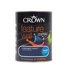 Find Crown Feature Wall Breatheasy Midnight Navy - Matt Paint - at Homebase. Visit your local store for the widest range of paint & decorating products. Feature Wall Living Room, Feature Walls, Navy Kitchen, Kitchen Walls, Buy Crown, Secret Escapes, Chimney Breast, Blue Walls, Interior And Exterior