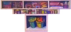 Jose Gomez • COSAS DE JOAQUIN. Tripico. Oleo. 70 x 120 cm.
