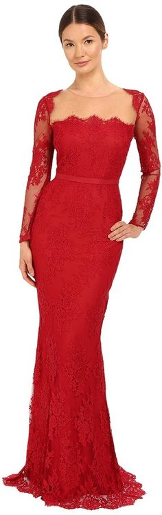 Marchesa Notte - Long Sleeve Lace Gown with Illusion Neckline Women's Dress https://api.shopstyle.com/action/apiVisitRetailer?id=531322600&pid=uid2500-37484350-28