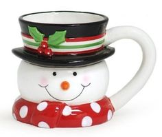 Adorable Top Hat Snowman Mug Christmas Believe Holly - - Snowman head shaped ceramic mug. Set of Design: Snowman head sha Snowman Mugs, Cute Snowman, Christmas Mugs, Christmas Snowman, Holly Christmas, Christmas Items, Christmas Recipes, Fluorescent Light Covers, Merry Christmas Typography