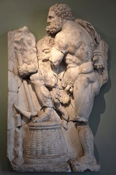 (Anonymous), Heracles cleaning the Augean stables (end of century CE, relief). From the Roman Villa of Chiragan; now in Musée Saint-Raymond, Toulouse. Roman Sculpture, Sculpture Art, Sculptures, Rinder Stall, Saint Raymond, Labors Of Hercules, Anatomy Sculpture, Toulouse France, Roman History