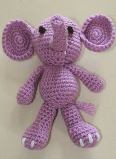 Crochet Amigurumi Purple Elephant