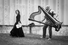 Professional harp diva and her mover.
