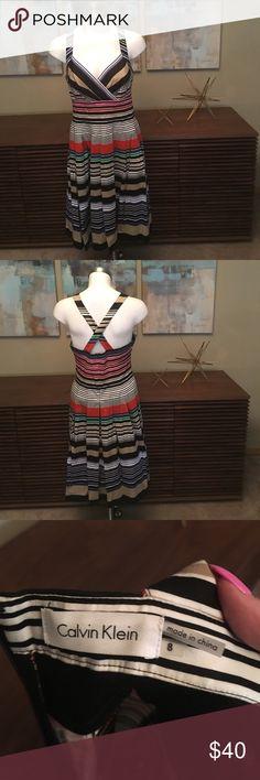Beautiful Calvin Klein cross-back stripe dress, 8 Beautiful Calvin Klein cross-back stripe dress, 8.  Only worn twice! Calvin Klein Dresses