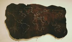 old wooden world map