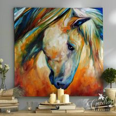 An original oil painting by Marcia Baldwin. This art is copyrighted, artist retains all copyrights. Fine Art America has permission to print this image for print sales. Colorful Paintings, Animal Paintings, Horse Paintings, Art And Illustration, Abstract Horse Painting, Abstract Art, Kunst Portfolio, Horse Posters, American Indian Art