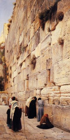 The Wailing Wall, Jerusalem // Gustav Bauernfeind // 1904 // Painting - oil on canvas : Museum Art Images : Museuma