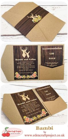 The Disney Inspired Bambi Pocketfold Wedding Invitation. Perfect for Rustic, disney, fairytale, stag, deer, forest, woodland, country, outdoor, vintage theme weddings. #weddinginvitation