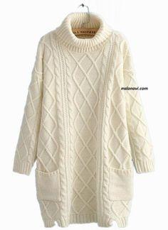 Вязаное платье свободного кроя http://mslanavi.com/2015/12/vyazanoe-plate-sxema/