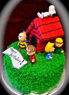 Cake idea I have the grass tip. We can make the dog house out of icing covered graham crackers and purchase small character.