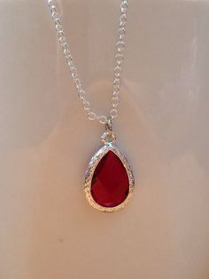 Silver and dark red/ marone framed crystal by PetalJewels on Etsy
