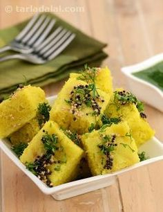Gujarati Cuisine Moong dal dhokla, this is my favourite recipe. It is very easy to make and a perfect snack recipe. Serve with green chutney and relsih it. Veg Recipes, Indian Food Recipes, Vegetarian Recipes, Snack Recipes, Cooking Recipes, Healthy Recipes, Recipies, Cooking Kale, Cooking Steak