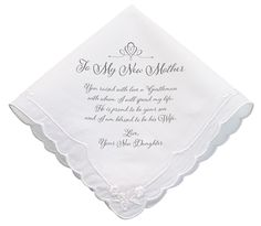 "This hankie from the bride to her new mother-in-law makes the perfect gift and special keepsake that will be cherished for years. It is made of cotton and measures 12"". Personalized version available."