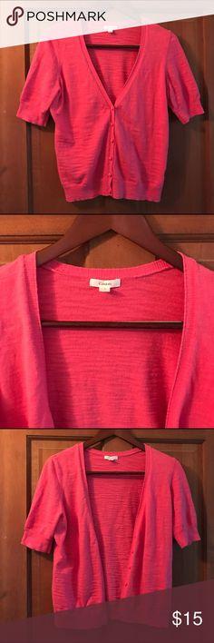 Caslon Coral Cardigan V-neck, 3/4 sleeved, coral cardigan by Caslon. Caslon Sweaters Cardigans