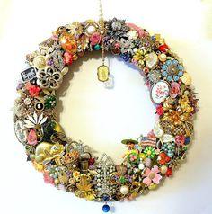 Handmade Vintage Jewelry Wreath Spring or by SweetLenasRetro, $209.00