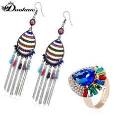 Cheap silver ring earrings, Buy Quality ring earring directly from China silver earrings rings Suppliers: Duohan Hue of Blue Women Featuring Jewelry Gold Color Drusy Rhinestone Ring Nylon Twine Fringe Genstone Antique Silver Earrings jewelry sets, jewelry sets matching, jewelry sets fashion, jewelry sets simple, jewelry sets diy, jewelry sets & more #jewellery #jewelry #jewelrydesign #jewelrysets #fashiontrends #trends