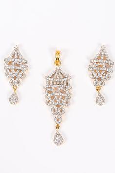 American Diamond Set with Lantern shaped pendant   Zari & Zevar