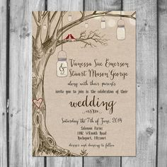 Lovebirds & Mason Jars Wedding Invitation by ChristinaElizabethD