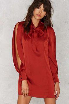 Nasty Gal Cosette Satin Dress - Rust - Sale