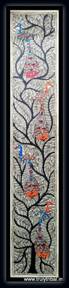 A lively Madhubani painting with Beautiful Peacocks & fishes on a classic Kadamb tree background.  This Madhubani paintings is made by state Awardee artist on handmade paper by natural colours. Size: 12*36 inches - See more at: http://www.trulytribal.in/Madhubani/Madhubani--Life-on-Kadamb-Tree-id-1953503.html#sthash.iHM8Tqpr.dpuf
