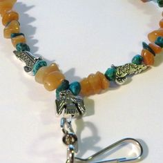 Beaded ID Laynard Sunstone & Turquoise with Silvertone Thunderbirds & Coyotes   by Mystique Uniques II, $20.00