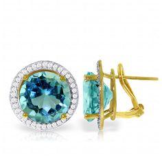 "16 TCW 14K Gold FRENCH CLIPS DIAMONDS & BLUE TOPAZ Earrings (""4793"")"