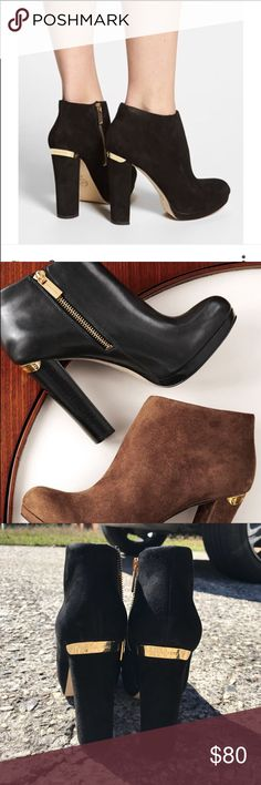 Black Michael Kors Booties on hold Size 8 New! Without box open to offers heel length 4 inches. These Booties are no longer in stores! Sold out everywhere! Michael Kors Shoes Ankle Boots & Booties