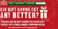 Papa John's Free Large Pizza with Gift Card Purchase!