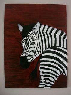 zebra's olie op doek 80/60