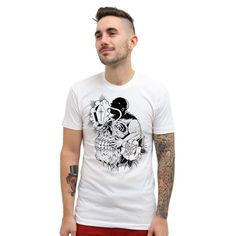 "Men's ""Gluttony"" Tee by Matt Kerley x Inked (White) #InkedShop #gluttony #skull #coffin #mens"