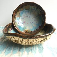 2 Urban Rustic bowls in River Journey. by leewolfepottery